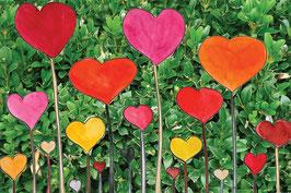 Grußkarte Herzen am Stiel