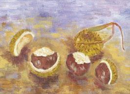 Grußkarte Kastanien