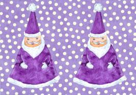 Grußkarte Lila Weihnachtsmänner