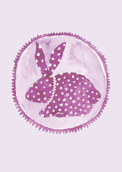 Grußkarte Hase lila