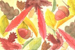 Grußkarte Herbstlaub