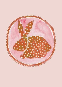 Grußkarte Hase rot