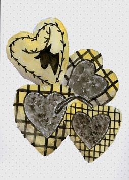 Grußkarte Herzen beige