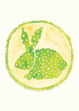 Grußkarte Hase grün