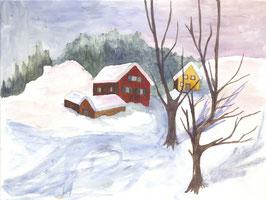 Grußkarte Winterdorf, Norwegen