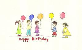Grußkarte Kindergeburtstag mit Luftballons