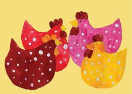 Grußkarte Hennen