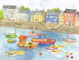 Grußkarte Hafen, Bretagne