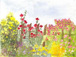 Grußkarte Blumenzaun