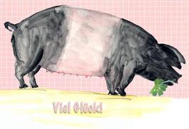 Grußkarte Glücksschwein