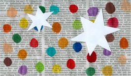 Grußkarte Sterne auf Zeitung