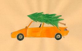 Grußkarte Auto mit Tannenbaum