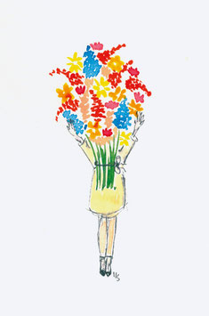 Grußkarte Dame mit Blumenstrauß