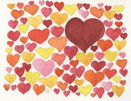 Grußkarte Herzen Konfetti