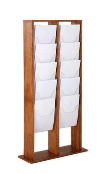 Prospektständer Holz Magazinständer 2x5 X A4 (je Seite)