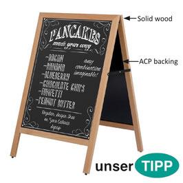 Kundenstopper A Board Holz-Aussenbereich