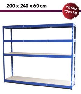 "12X 165CHF Lagerregal ""Stocker Premium"" L2400, 2000kg, Blau"
