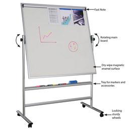 Whiteboard magnethaftend auf Rollen, magnetisch