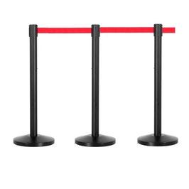 Personenleitsystem Q-Belt Premium SET 3 Pfosten, Metall schwarz, rotes Band