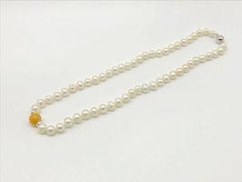 Kurze Perlenkette, Honig-Achat-Kugel