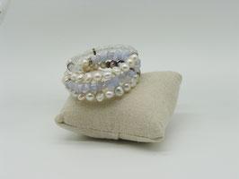 Spiralarmband Rohsteine + Zuchtperlen