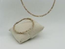 Glitzerndes Set Halskette + Armband: funkelnde Kristalle im Netz, gelbgoldfarben