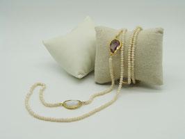 Zeitlos elegante Halskette, opalisierendes Elfenbein