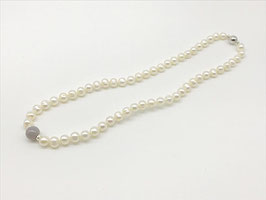 Kurze Perlenkette, graue Achat-Kugel