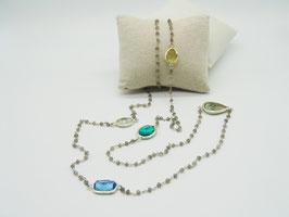 Labradorit Rosenkranz-Kette Silber mit Edelsteinen