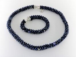 Funkelndes Collier mit Armband in Mitternachtsblau