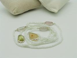 Zeitlos elegante Halskette, gefrostetes Weiß