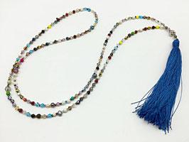 Troddelkette, bunt mit blauer Seidenquaste