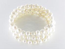 Spiralarmband aus Zuchtperlen, weiß