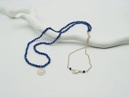 Filigrane längere Kyanit/Silberkette mit Symbolanhänger