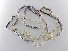 Trendige XXL-Perlenkette, grau