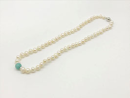 Kurze Perlenkette, Amazonit-Kugel
