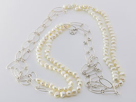 Trendige Perlenkette, weiß, Silberdraht