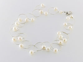 Filigranes Perlen-Collier, weiß