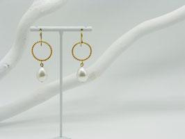 Ohrhänger Ring + Perle
