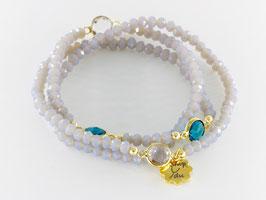 Dreier-Loop-Armband, blaugrau