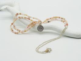 Filigrane längere rosa Opal/Silberkette mit Symbolanhänger