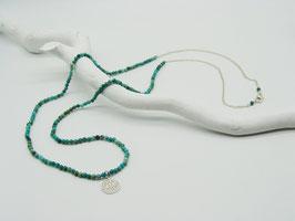 Filigrane längere Türkis/Silberkette mit Symbolanhänger