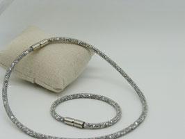 Glitzerndes Set Halskette + Armband: funkelnde Kristalle im Netz, silberfarben