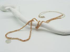 Filigrane längere Peach Mondstein/Silberkette mit Symbolanhänger