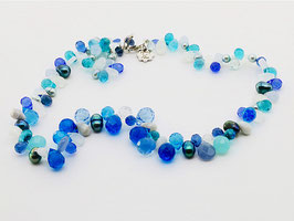 Tropfen-Collier, strahlend blau