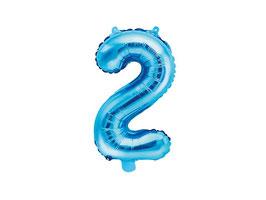 "Folienballon Zahl ""2"" blau"