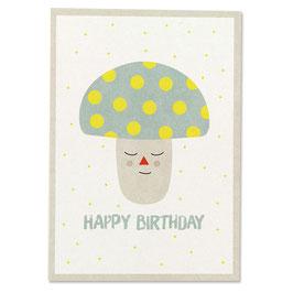 """Postkarte Pilz """"Happy Birthday"""""""