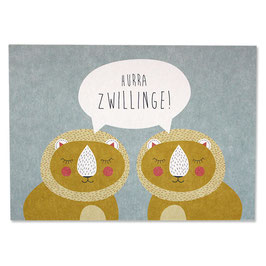 "Postkarte Löwen ""Hurra Zwillinge"""