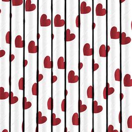 Papierstrohhalme rote Herzchen