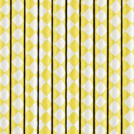 Papierstrohhalme gelbe Rauten